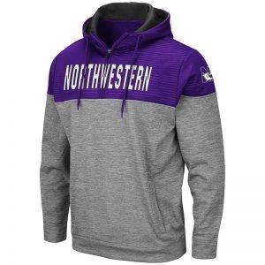 Northwestern University Wildcats Colosseum Men's Bart Pullover 1/4 Zip with N-Cat Design