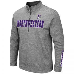Northwestern University Wildcats Colosseum Men's Heather Grey 1/2 Zip with N-Cat Design