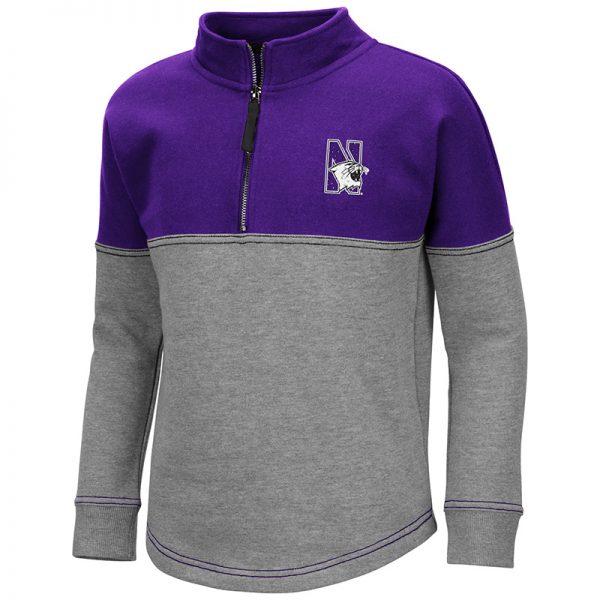 Northwestern University Wildcats Colosseum Girls Dot 1/2 Zip Pullover With N-Cat Design