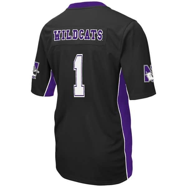 Northwestern University Wildcats Colosseum Men's Black Max Power Football Jersey -Back
