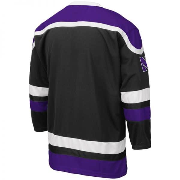 Northwestern University Wildcats Colosseum Men's Black Mr. Plow Hockey Jersey with N-Cat Design -Back