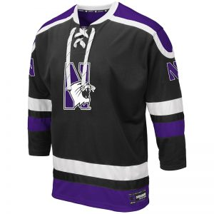 Northwestern University Wildcats Colosseum Men's Black Mr. Plow Hockey Jersey with N-Cat Design