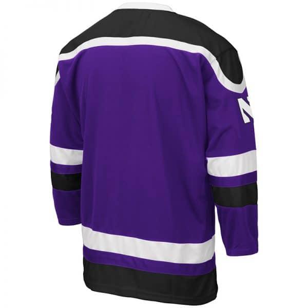 Northwestern University Wildcats Colosseum Men's Purple Mr. Plow Hockey Jersey with N-Cat Design-Back