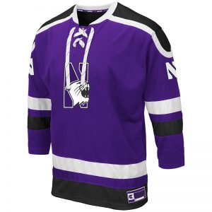 Northwestern University Wildcats Colosseum Men's Purple Mr. Plow Hockey Jersey with N-Cat Design