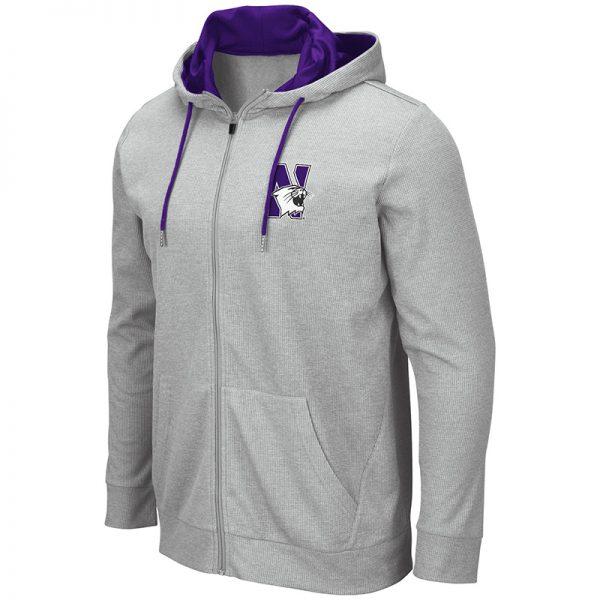 Northwestern University Wildcats Colosseum Men's Homer Full Zip-Hood Sweatshirt With Left Chest Embroidered N-cat Design