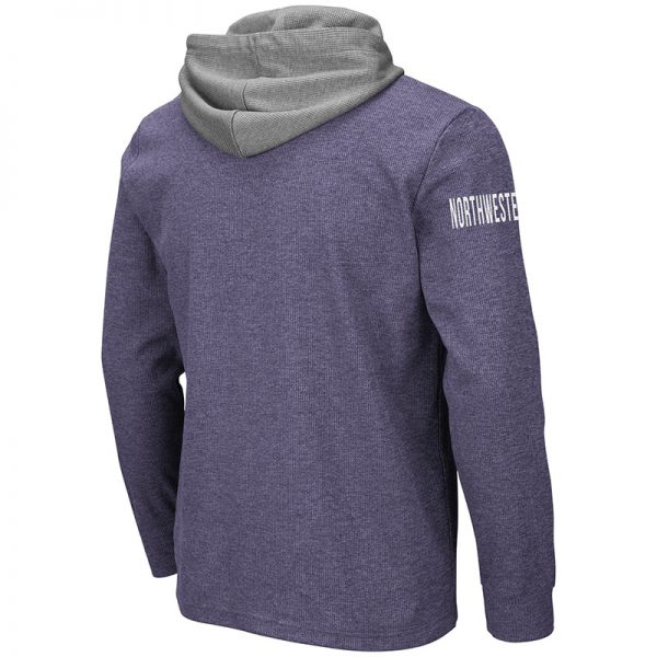Northwestern University Wildcats Colosseum Men's Milhouse L/S Hooded Tee With Appliqué Embroidered N-Cat Design -Back