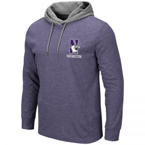 Northwestern University Wildcats Colosseum Men's Milhouse L/S Hooded Tee With Appliqué Embroidered N-Cat Design
