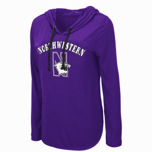 Northwestern University Wildcats Colosseum Ladies My Lover L/S Hooded Tee with N-Cat Design
