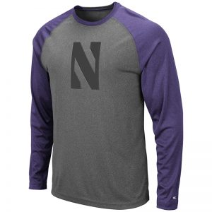 Northwestern University Wildcats Colosseum Men's Heather Grey/Purple Rad Tad Raglan L/S T-Shirt with Stylized N Design