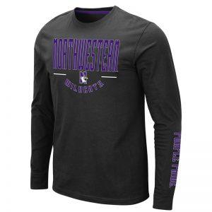 Northwestern University Wildcats Colosseum Men's Black Streepurplear L/S T-Shirt with Northwestern & N-Cat Design