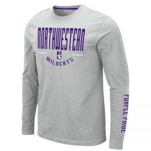 Northwestern University Wildcats Colosseum Men's Silver Streepurplear L/S T-Shirt with Northwestern & N-Cat Design