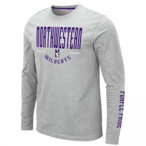 Northwestern University Wildcats Colosseum Men's Silver Streepurplear L/S T-Shirt with Northwestern & N-Cat Design