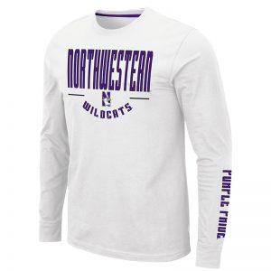 Northwestern University Wildcats Colosseum Men's White Streepurplear L/S T-Shirt with Northwestern & N-Cat Design