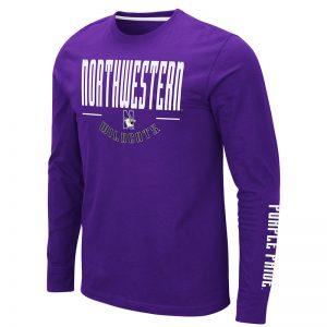 Northwestern University Wildcats Colosseum Men's Purple Streepurplear L/S T-Shirt with Northwestern & N-Cat Design