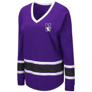 Northwestern University Wildcats Colosseum Ladies All Righty Purple Hockey Style Long Sleeve Tee with N-Cat Design
