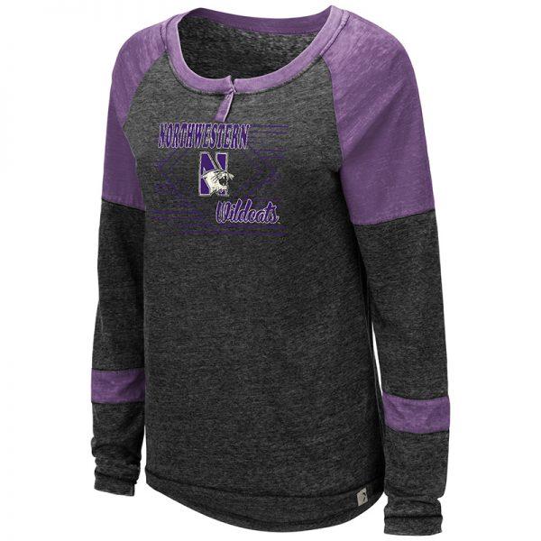 Northwestern University Wildcats Colosseum Ladies Miranda Long Sleeve Henley with N-Cat Design