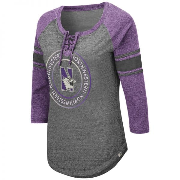 Northwestern University Wildcats Colosseum Ladies Carrie Lace Up Long Sleeve Tee with N-Cat Design