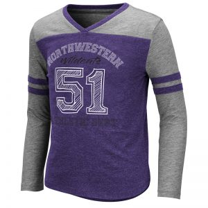 Northwestern University Wildcats Colosseum Girls Hello Nurse L/S Tee With Northwestern 51 Design