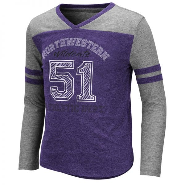 Northwestern University Wildcats Colosseum Girls Hello Nurse L/S Tee With Northwestern 51 Design