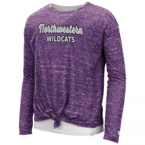 Northwestern University Wildcats Colosseum Girls Brain Double Layer L/S Tee With Sewn Northwestern Wildcats Design