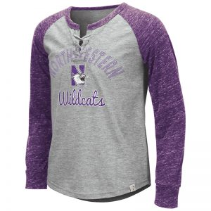 Northwestern University Wildcats Colosseum Girls Rita Lace Up L/S Tee With N-Cat Design
