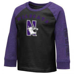 Northwestern University Wildcats Colosseum Toddler Baseball Style Raglan L/S Tee With N-Cat Design