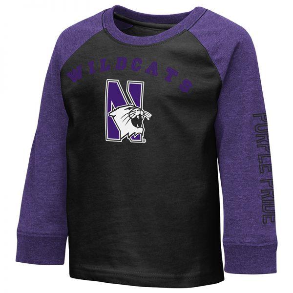 Northwestern University Wildcats Colosseum Toddler Baseball Style Raglan L/S Tee With N-Cat Design