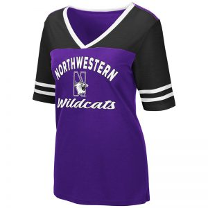 Northwestern University Wildcats Colosseum Ladies Samantha V-Neck S/S Tee with N-Cat Design