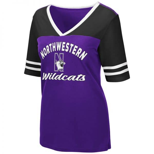 Northwestern University Wildcats Colosseum Ladies Samantha V-Neck S/S Tee with N-Cat Design