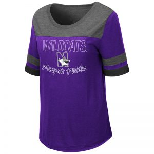 Northwestern University Wildcats Colosseum Ladies Romantic Scoop-Neck S/S Tee with N-Cat Design