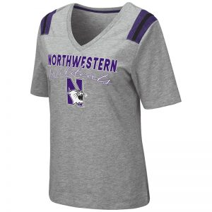 Northwestern University Wildcats Colosseum Ladies The City V-Neck S/S Tee with N-Cat Design