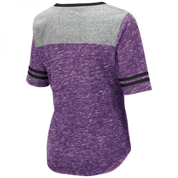 Northwestern University Wildcats Colosseum Ladies Mr. Big V-Neck S/S Tee with N-Cat Design-Back