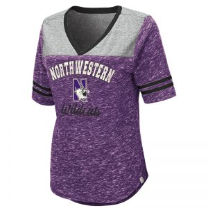 Northwestern University Wildcats Colosseum Ladies Mr. Big V-Neck S/S Tee with N-Cat Design