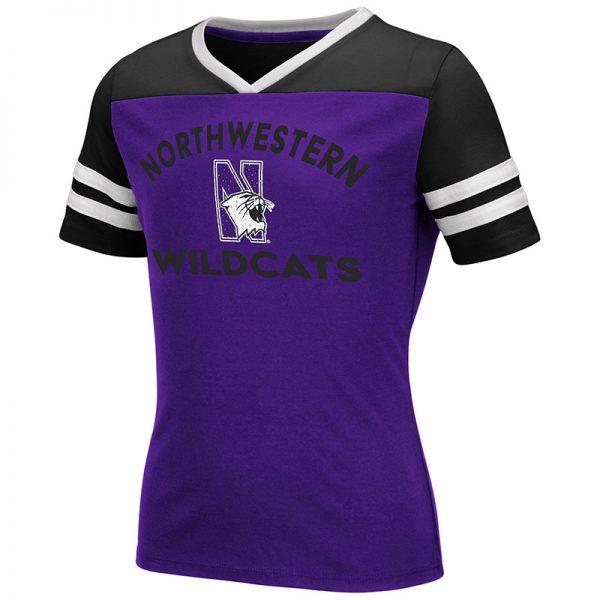 Northwestern University Wildcats Colosseum Girls Faboo Rhinestone V-Neck S/S Tee with N-Cat Design