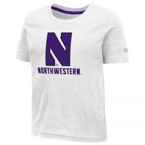 Northwestern University Wildcats Colosseum Toddler White S/S T-Shirt with Stylized N Over Northwestern Design