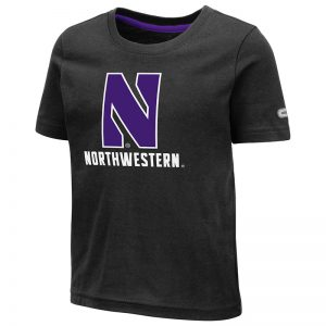 Northwestern University Wildcats Colosseum Toddler Black S/S T-Shirt with Stylized N Over Northwestern Design