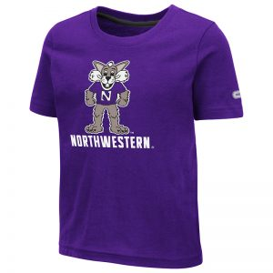 Northwestern University Wildcats Colosseum Toddler Purple S/S T-Shirt With Willie The Wildcat Over Northwestern Design