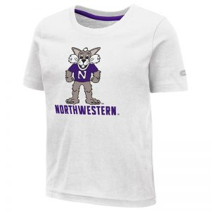Northwestern University Wildcats Colosseum Toddler White S/S T-Shirt With Willie The Wildcat Over Northwestern Design