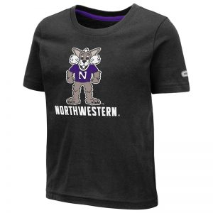 Northwestern University Wildcats Colosseum Toddler Black S/S T-Shirt With Willie The Wildcat Over Northwestern Design