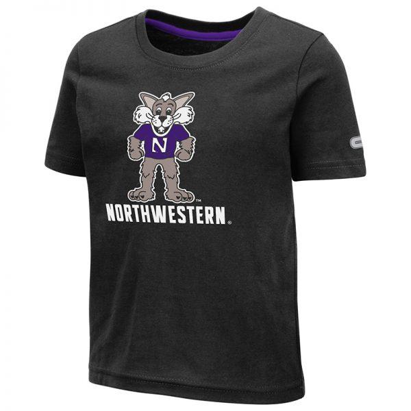 Northwestern University Wildcats Colosseum Toddler Black S/S T-Shirt With Willie The Wildcat Over Northwestern Design