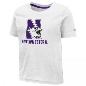 Northwestern University Wildcats Colosseum Toddler White S/S T-Shirt with N-Cat Over Northwestern Design