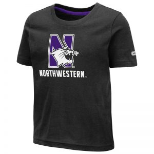 Northwestern University Wildcats Colosseum Toddler Black S/S T-Shirt with N-Cat Over Northwestern Design