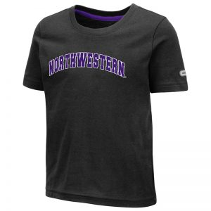 Northwestern University Wildcats Colosseum Toddler Black S/S T-Shirt with Arched Northwestern Design