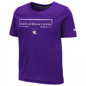 Northwestern University Wildcats Colosseum Toddler Purple Hisskill S/S T-Shirt with Boxed Northwestern & N-Cat Design