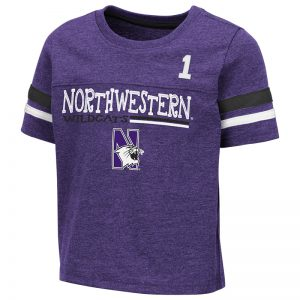 Northwestern University Wildcats Colosseum Toddler Boone S/S T-Shirt With Same Fabric Sleeve Stripes