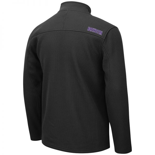 Northwestern University Wildcats Colosseum Men's Willie Full Zip Black Jacket with Stylized N Design-Back