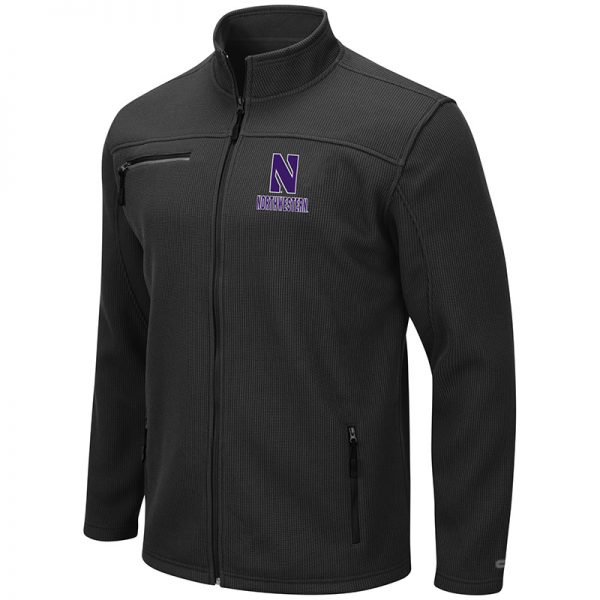 Northwestern University Wildcats Colosseum Men's Willie Full Zip Black Jacket with Stylized N Design