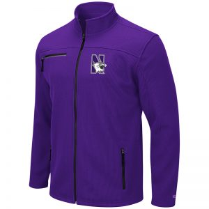 Northwestern University Wildcats Colosseum Men's Willie Full Zip Purple Jacket with N-Cat Design