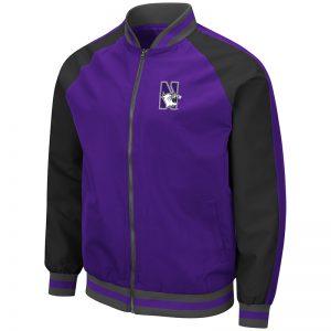Northwestern University Wildcats Colosseum Men's Lightweight Kent Bomber Jacket with N-Cat Design