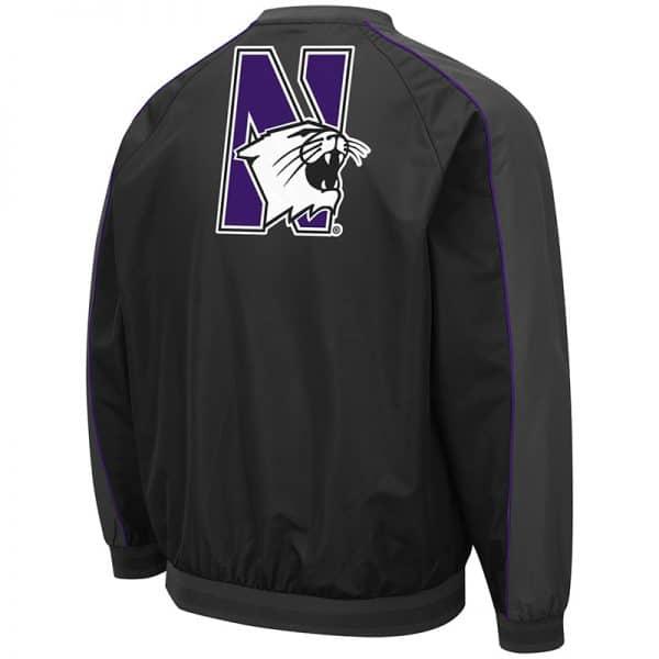 Northwestern University Wildcats Colosseum Men's Duffman Windbreaker Jacket with N-Cat Design -Back